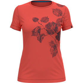 Odlo Kumano Print Crewneck T-shirt Dames, hot coral/flower leaf